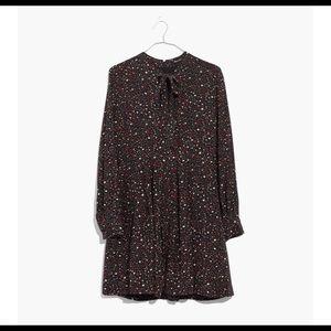 Madewell Balsam Tie Neck dress in Starry Night